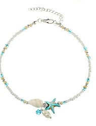 cheap -Women's Pearl Anklet Starfish Shell Ladies Pearl Imitation Pearl Anklet Jewelry Light Blue For Daily Bikini