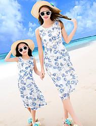 cheap -Adults Kids Girls' Active Boho Beach Floral Sleeveless Midi Dress Blue