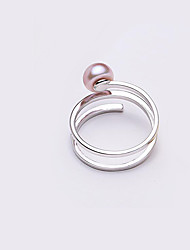 cheap -Women's Open Ring Pearl Freshwater Pearl White Purple Pink Stainless Steel Silver Plated Freshwater Pearl Simple Fashion Multi Layer Party Daily Jewelry Layered