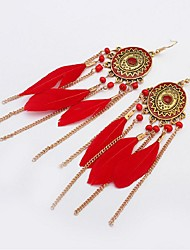 cheap -Turquoise Drop Earrings Leaf Feather Ladies Vintage Fashion Native American western style Feather Earrings Jewelry Black / Red / Green For Carnival Birthday