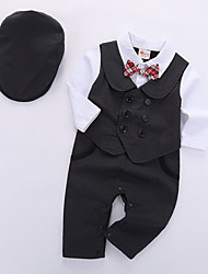 cheap -Baby Boys' Basic Daily Solid Colored Long Sleeve Regular Clothing Set Black / Toddler
