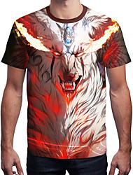 cheap -Men's Daily Going out Active / Street chic T-shirt - Striped / Color Block / Animal Dragon, Print Round Neck Brown / Short Sleeve