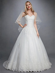 cheap -Ball Gown Sweetheart Neckline Court Train Lace / Tulle Made-To-Measure Wedding Dresses with Appliques / Buttons by LAN TING BRIDE®