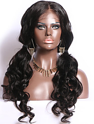 cheap -Remy Human Hair Full Lace Wig Middle Part style Brazilian Hair Body Wave Wig 130% Density with Baby Hair Natural Hairline Bleached Knots Women's Long Human Hair Lace Wig