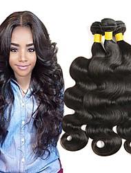 Недорогие -3 Связки Малазийские волосы Прямой Необработанные натуральные волосы 150 g Человека ткет Волосы Естественный цвет Ткет человеческих волос Лучшее качество Горячая распродажа / 8A