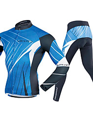 cheap -Realtoo Men's Long Sleeve Cycling Jersey with Tights Bule / Black Bike Clothing Suit 3D Pad Sports Polyester Spandex Lines / Waves Mountain Bike MTB Road Bike Cycling Clothing Apparel / Stretchy