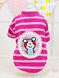 cheap -Dog Cat Pets Shirt / T-Shirt Dog Clothes Green Pink Costume Beagle Bulldog Shiba Inu Cotton Striped Word / Phrase Cartoon Animal Cute XXS XS S M L