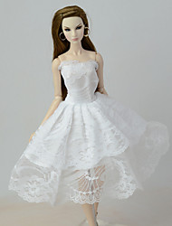 cheap -Doll Dress Dresses Lace Linen / Cotton Blend Tulle Lace Linen / Polyester Blend Cotton Blend Handmade Toy for Girl's Birthday Gifts  / Kids