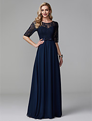cheap -A-Line Illusion Neck Floor Length Chiffon / Lace See Through / Elegant / Minimalist Formal Evening / Wedding Party Dress with Bow(s) / Sash / Ribbon 2020 / Illusion Sleeve