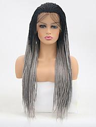Недорогие -Синтетические кружевные передние парики Прямой тесьма Лента спереди Парик Длинные Черный / серый Искусственные волосы Жен. Жаропрочная Серый