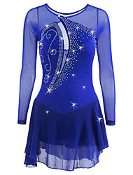cheap -Figure Skating Dress Women's Girls' Ice Skating Dress Dark Blue Spandex High Elasticity Competition Skating Wear Breathable Quick Dry Anatomic Design Patchwork Classic Rhinestone Long Sleeve Ice