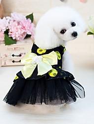 cheap -Dog Cat Pets Dress Polka Dot Bowknot Princess Japan and Korea Style Sweet Style Dog Clothes Yellow Fuchsia Costume Polyester / Cotton Blend Mesh Acetate XS S M L XL