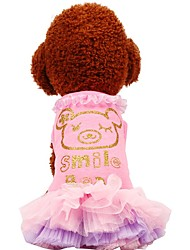 cheap -Dogs Cats Pets Dress Dog Clothes Green Pink Costume Beagle Bulldog Shiba Inu Cotton Voiles & Sheers Patterned Quotes & Sayings Voiles & Sheers Sweet Style XXS XS S M L