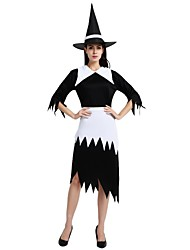 cheap -Witch Costume Women's Halloween Halloween Masquerade Day of the Dead Festival / Holiday Polyster Outfits Black Solid Colored Halloween
