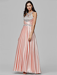 cheap -Sheath / Column Halter Neck Floor Length Stretch Satin Sparkle & Shine / Cut Out / Pastel Colors Formal Evening Dress 2020 with Beading / Sequin / Crystals