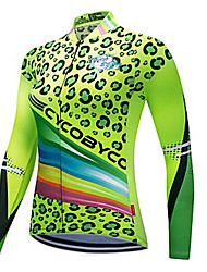 abordables -CYCOBYCO Femme Manches Longues Maillot Velo Cyclisme Hiver Toison Polyester 100 % Polyester Vert Léopard Grandes Tailles Cyclisme Shirt Maillot Hauts / Top VTT Vélo tout terrain Vélo Route Séchage