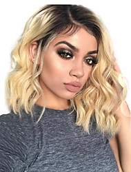 cheap -Remy Human Hair Lace Front Wig Bob Short Bob Rihanna style Brazilian Hair Wavy Body Wave Ombre Wig 130% Density Women's Short Human Hair Lace Wig beikashang