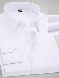 cheap -Men's Daily Work Business / Basic Cotton Slim Shirt - Solid Colored / Color Block White / Long Sleeve