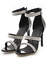 cheap -Women's Stiletto Heels PU(Polyurethane) Summer Basic Pump Sandals Stiletto Heel Open Toe Rhinestone White / Black / Silver / Party & Evening / Party & Evening