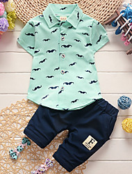 cheap -Baby Boys' Basic Daily Print Short Sleeve Regular Clothing Set White / Toddler