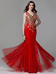 cheap -Mermaid / Trumpet V Neck Floor Length Lace / Tulle Elegant / Beaded & Sequin Prom / Formal Evening Dress 2020 with Beading / Lace