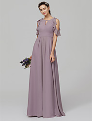 cheap -A-Line Jewel Neck Floor Length Chiffon Bridesmaid Dress with Ruffles