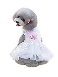 cheap -Pets Dress Dog Clothes White Costume Cotton / Polyester Net Voiles & Sheers Solid Colored Flower / Floral Flower Style Cute XS S M L XL