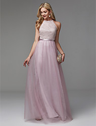 cheap -A-Line Halter Neck Floor Length Lace / Tulle Elegant / Pastel Colors Prom / Formal Evening Dress 2020 with Beading
