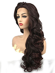 cheap -Synthetic Lace Front Wig Curly Minaj Middle Part Lace Front Wig Burgundy Long Auburn Synthetic Hair Women's 100% kanekalon hair Burgundy StrongBeauty