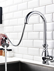 cheap -Kitchen faucet - Single Handle One Hole Chrome Pull-out / ­Pull-down / Tall / ­High Arc Centerset Antique Kitchen Taps / Brass