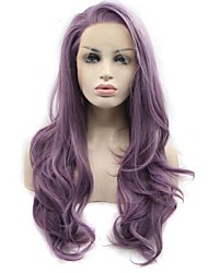cheap -Synthetic Lace Front Wig Wavy Middle Part Lace Front Wig Long Lavender Synthetic Hair Women's New Arrival Hot Sale Purple