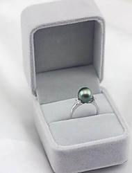 cheap -Women's Open Ring Pearl Freshwater Pearl Tahitian pearl White Black Stainless Steel Black Pearl S925 Sterling Silver Circle Ladies Simple Fashion Party Gift Jewelry