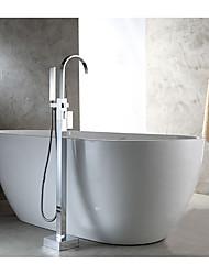 cheap -Bathtub Faucet - Contemporary / Standing Style Chrome Floor Mounted Ceramic Valve Bath Shower Mixer Taps / Single Handle One Hole