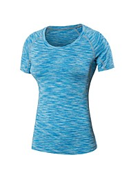 cheap -Women's Crew Neck Compression Shirt Spandex Yoga Fitness Gym Workout Tee / T-shirt Compression Clothing Short Sleeve Activewear Lightweight Fast Dry Breathability Stretchy Stretchy
