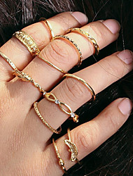 cheap -Knuckle Ring Stacking Stackable Gold Alloy Ladies Simple European 12pcs 7 / Ring Set / Rings Set