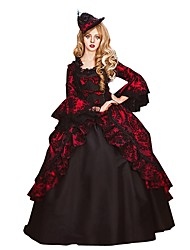 cheap -Rococo Victorian Costume Women's Adults' Dress Black / Red Vintage Cosplay Flocked 3/4 Length Sleeve Flare Sleeve Ball Gown Plus Size Customized / Floral