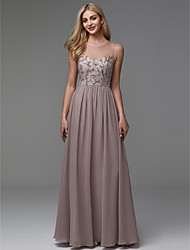 cheap -A-Line Jewel Neck Floor Length Chiffon Elegant / Beaded & Sequin Prom / Formal Evening Dress with Beading 2020