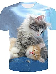 cheap -Men's Daily Basic Plus Size T-shirt - Animal Cat, Print Round Neck Light Blue / Short Sleeve / Summer