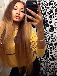 cheap -Virgin Human Hair Full Lace Wig Layered Haircut style Brazilian Hair Straight Blonde Wig 130% Density with Baby Hair Ombre Hair Dark Roots Women's Short Medium Length Long Human Hair Lace Wig Aili