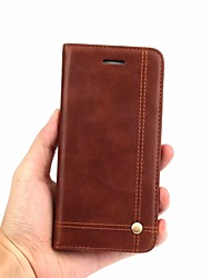cheap -Case For OnePlus OnePlus 6 Wallet / Card Holder / Flip Full Body Cases Solid Colored Hard Genuine Leather