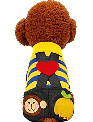 cheap -Dog Cat Pets Outfits Pants Puppy Clothes Striped Color Block Love Retro Vintage Leisure Dog Clothes Puppy Clothes Dog Outfits Yellow Fuchsia Costume for Girl and Boy Dog Cotton XXS XS S M L