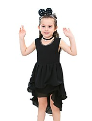 cheap -Kids Toddler Girls' Vintage Sweet Going out Weekend Solid Colored Layered Print Sleeveless Asymmetrical Dress Black / Cotton