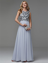 cheap -A-Line Jewel Neck Floor Length Chiffon / Sequined Sparkle & Shine / Elegant / Pastel Colors Prom / Formal Evening Dress 2020 with Sequin