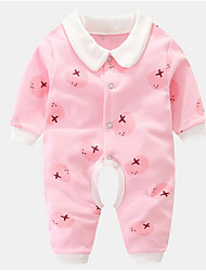 cheap -Baby Unisex Basic Solid Colored / Print Long Sleeve Cotton Romper Blushing Pink