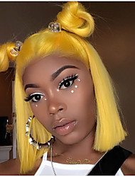 cheap -Remy Human Hair Lace Front Wig Bob style Brazilian Hair Straight Blonde Wig 130% Density with Baby Hair Soft Silky Natural Hairline Bleached Knots Women's Short Human Hair Lace Wig Guanyuwigs