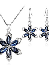 cheap -Crystal Jewelry Set Drop Earrings Pendant Necklace Flower Snowflake Ladies Sweet Fashion Elegant Earrings Jewelry Silver For Wedding Party Gift / Bridal Jewelry Sets