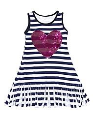 cheap -Kids Girls' Active Daily Holiday Striped Sequins Tassel Sleeveless Knee-length Dress Navy Blue / Cotton