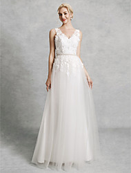 cheap -A-Line V Neck Court Train Lace / Satin / Tulle Regular Straps Beautiful Back Made-To-Measure Wedding Dresses with Beading / Appliques 2020