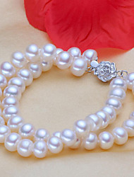 cheap -Women's Pearl Freshwater Pearl Bead Bracelet Flower Ladies Classic Natural Elegant Stainless Steel Bracelet Jewelry White For Gift Daily / S925 Sterling Silver