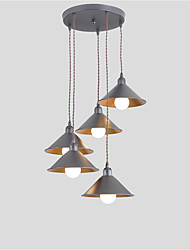 cheap -5-Light Vintage Industrial Metal Shade Cluster Chandelier 5 Head Living Room Dining Room Pendant Lamp